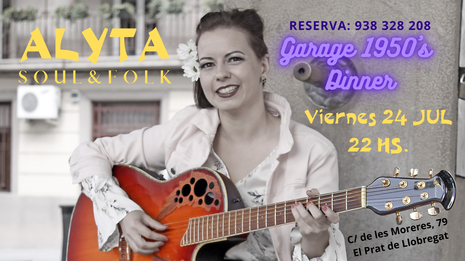 Cartel Alyta:Soul&Folk en Garage1950s Dinner