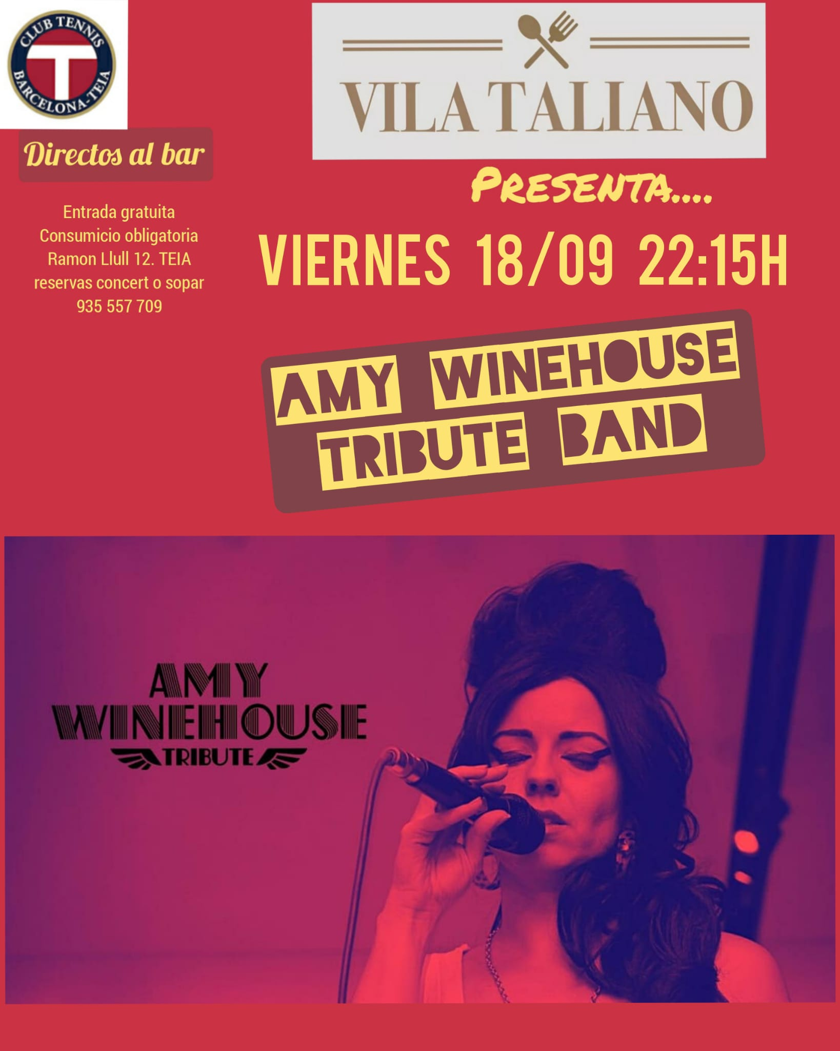Cartel Amy Winehouse Tribute by Aly Alma Music en Vila Taliano