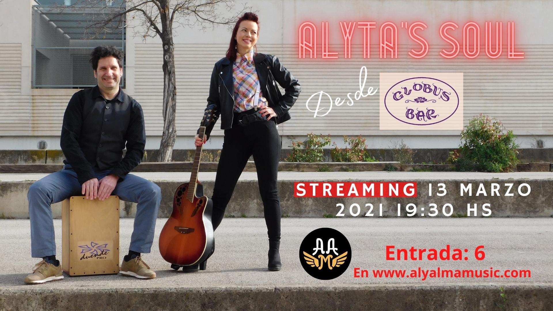 Cartel del concierto de Alyta en Streaming del 13 de marzo del 2021 en el Globus Bar de Manresa