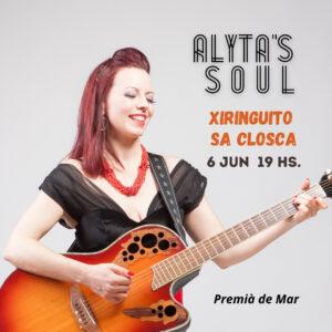 Cartel de Alyta en concierto en el Xiringuito Sa Closca en Premià de Mar