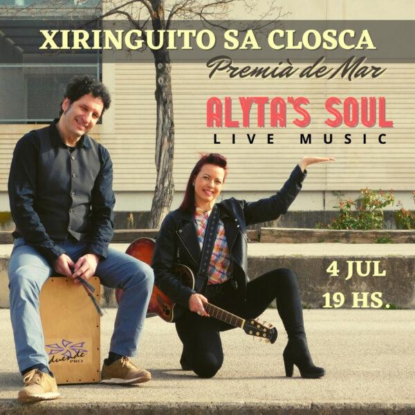 Cartel Alyta`s Soul , dúo musical en Premià de Mar