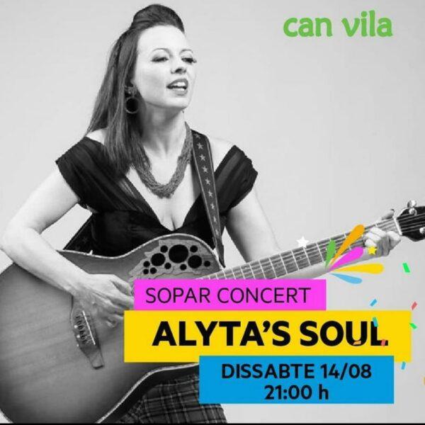 Cartel Alyta's Soul en concierto acústico en Can Vila el 14 de agosto de 2021